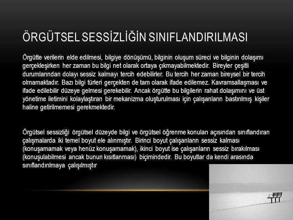 ÖRGÜTSEL SESSİZLİĞİN SINIFLANDIRILMASI