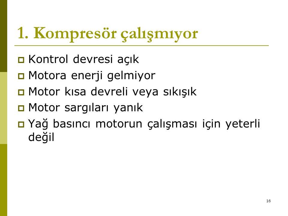 1. Kompresör çalışmıyor Kontrol devresi açık Motora enerji gelmiyor
