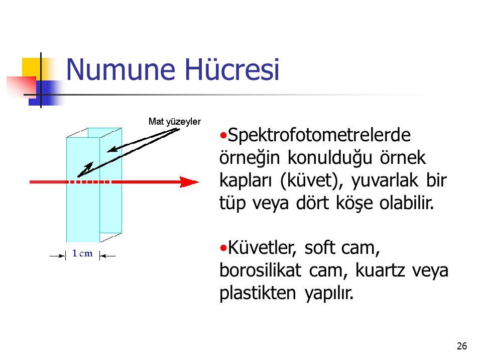 Numune Hücresi Spektrofotometrelerde örneğin konulduğu örnek kapları (küvet), yuvarlak bir tüp veya dört köşe olabilir.