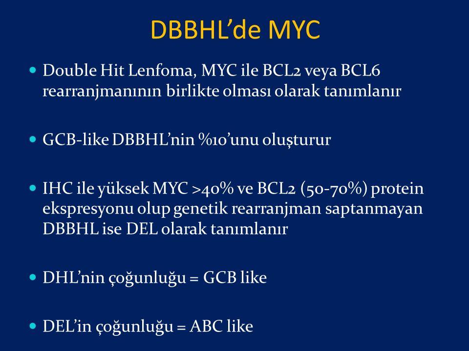 DBBHL'de MYC Double Hit Lenfoma, MYC ile BCL2 veya BCL6 rearranjmanının birlikte olması olarak tanımlanır.