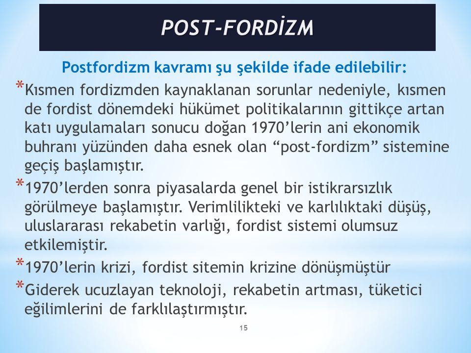 Postfordizm kavramı şu şekilde ifade edilebilir: