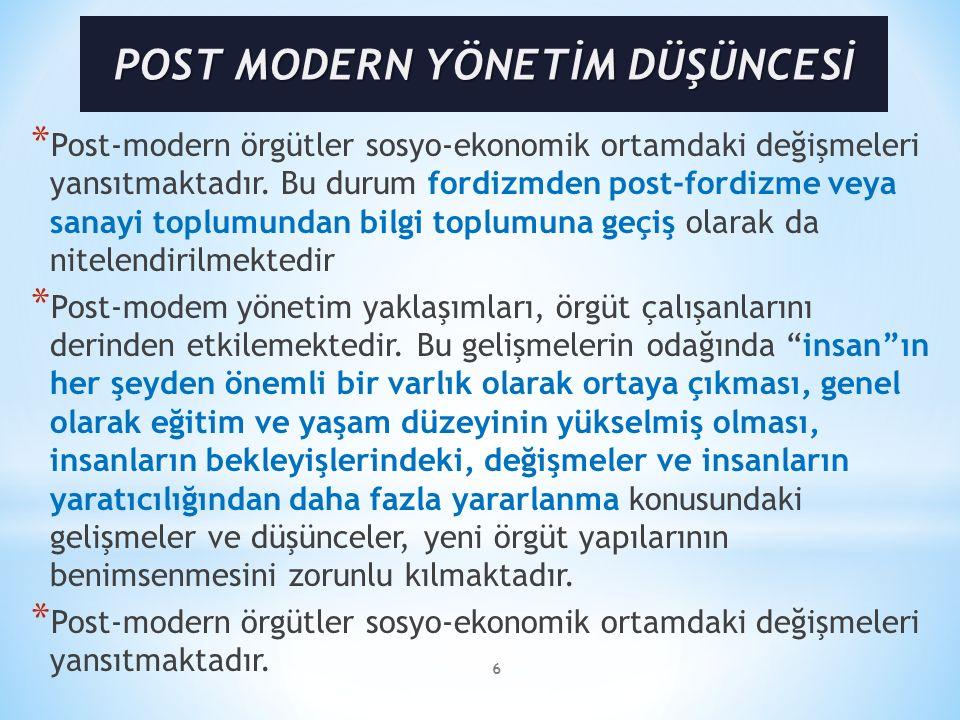 POST MODERN YÖNETİM DÜŞÜNCESİ