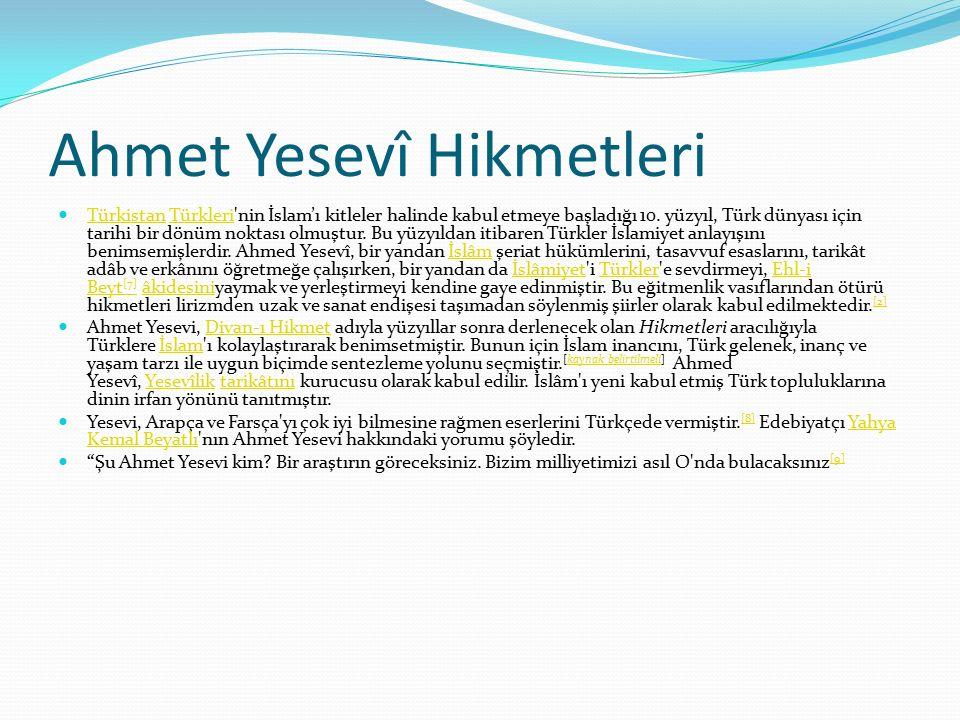Ahmet Yesevî Hikmetleri