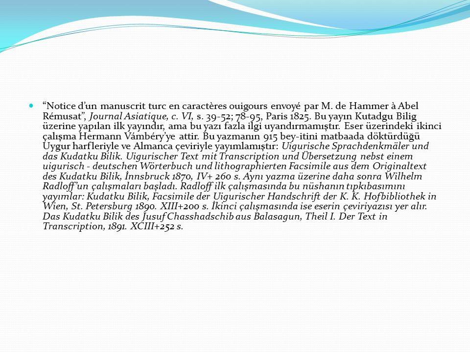 Notice d'un manuscrit turc en caractères ouigours envoyé par M