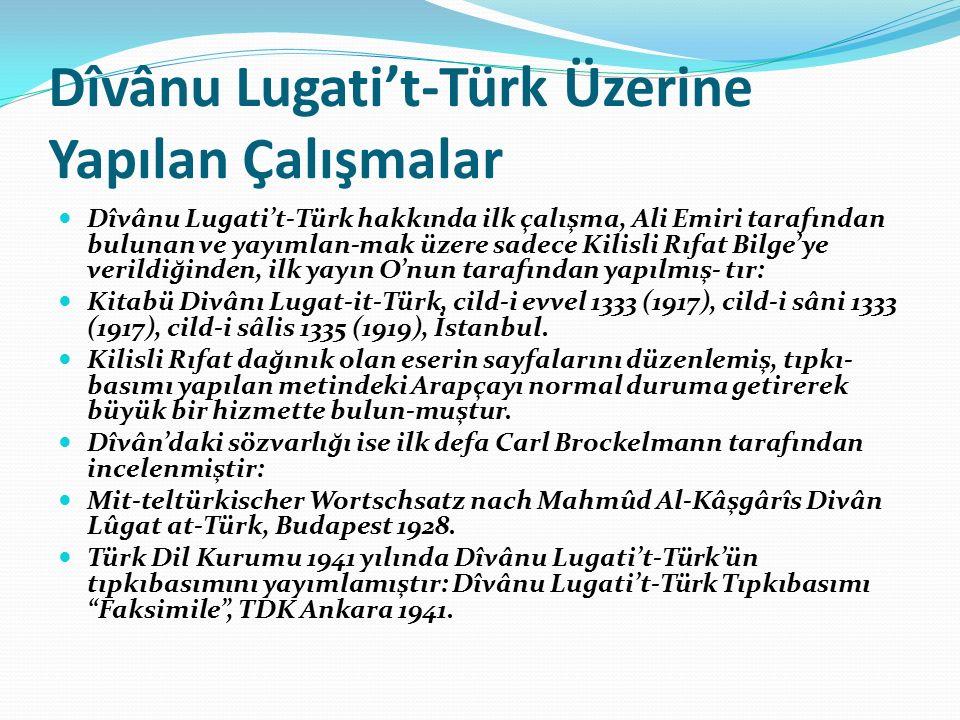 Dîvânu Lugati't-Türk Üzerine Yapılan Çalışmalar