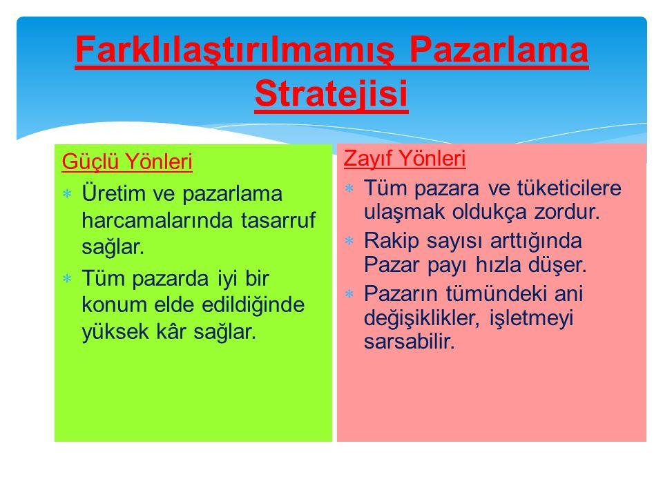 Farklılaştırılmamış Pazarlama Stratejisi