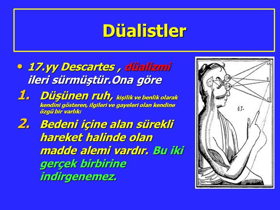 Düalistler 17.yy Descartes , düalizmi ileri sürmüştür.Ona göre