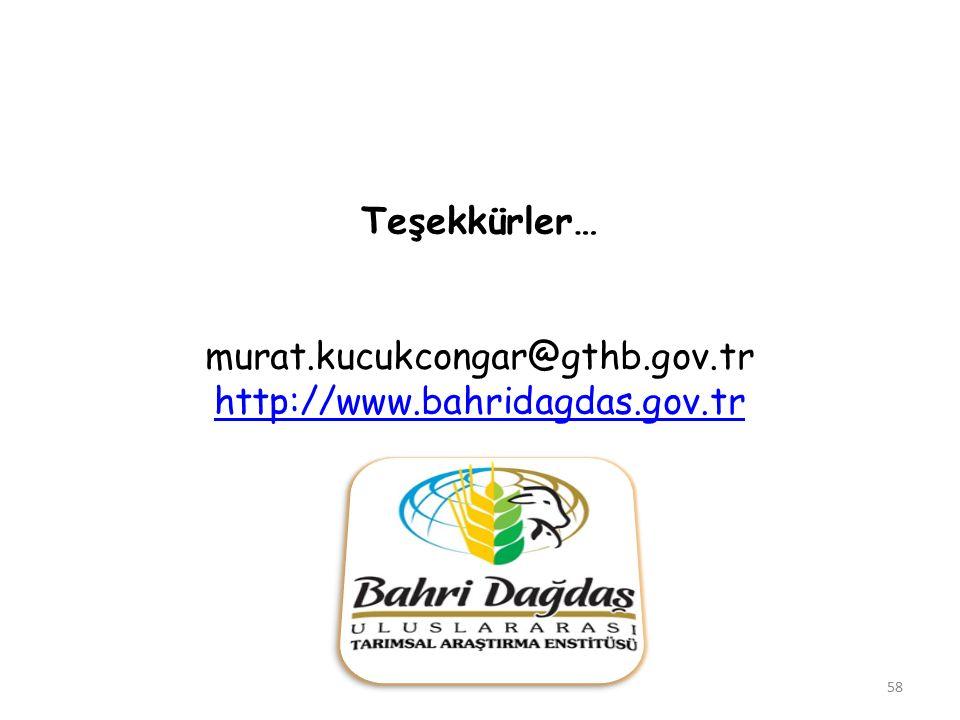 Teşekkürler… murat.kucukcongar@gthb.gov.tr http://www.bahridagdas.gov.tr