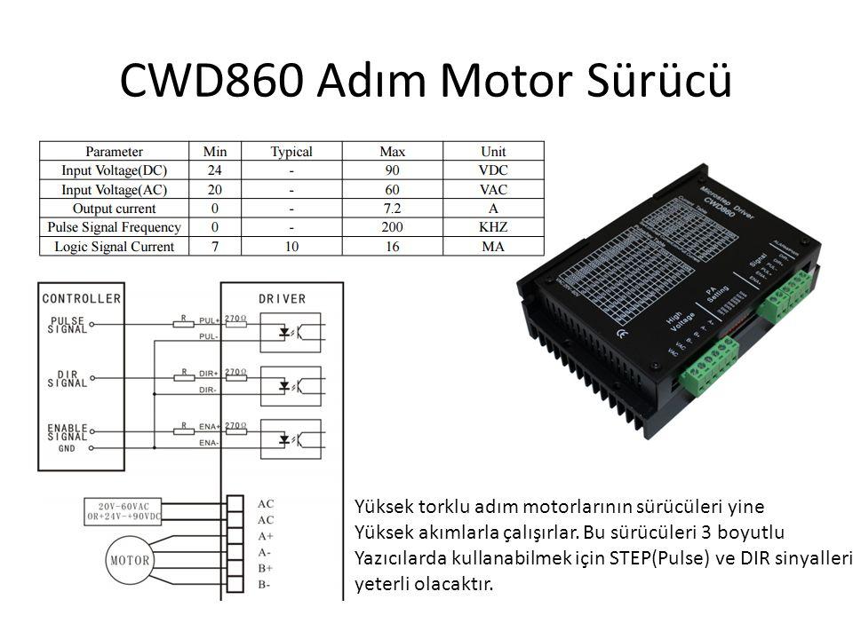 CWD860 Adım Motor Sürücü Yüksek torklu adım motorlarının sürücüleri yine. Yüksek akımlarla çalışırlar. Bu sürücüleri 3 boyutlu.