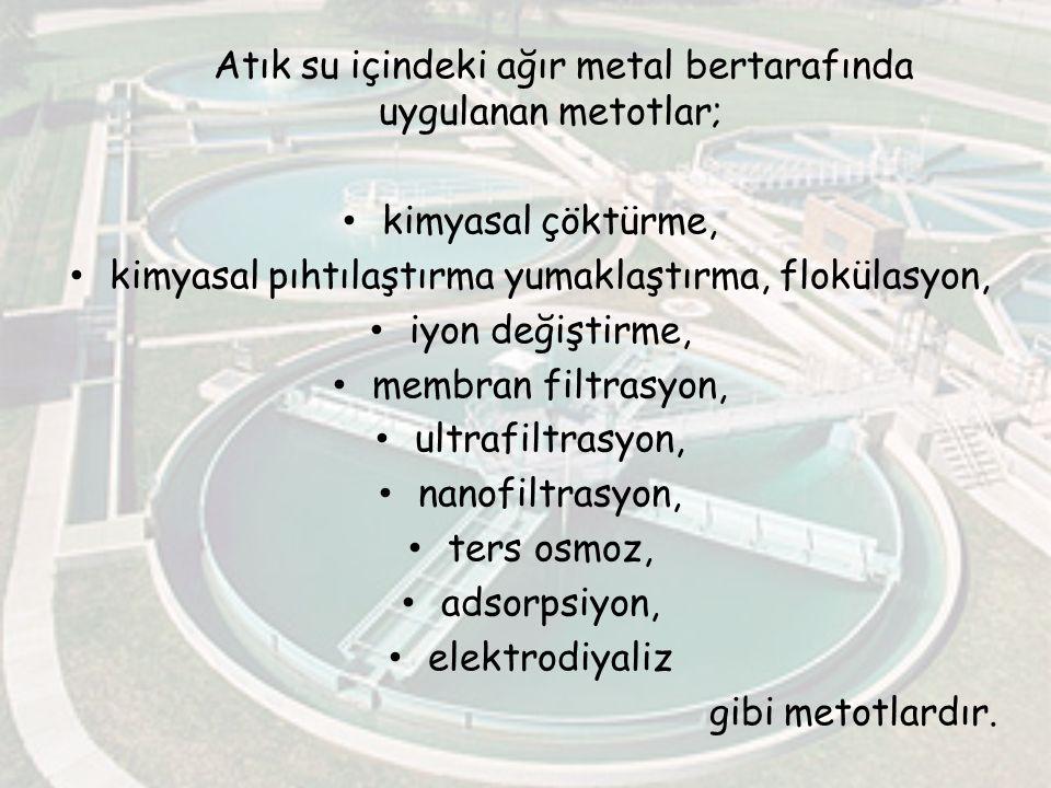 Atık su içindeki ağır metal bertarafında uygulanan metotlar;