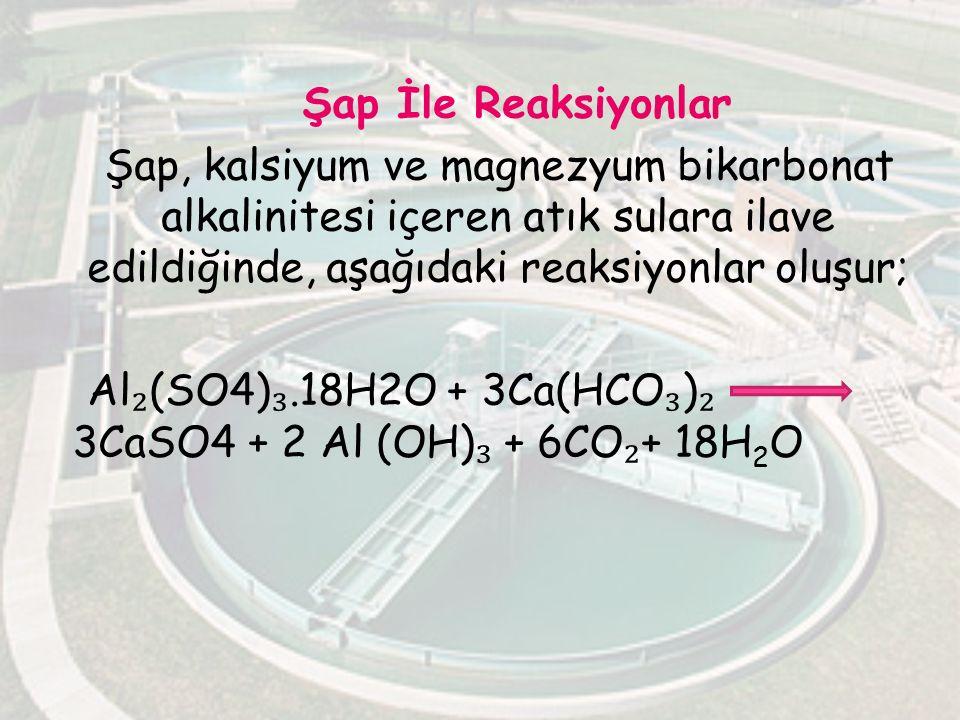 Şap İle Reaksiyonlar Şap, kalsiyum ve magnezyum bikarbonat alkalinitesi içeren atık sulara ilave edildiğinde, aşağıdaki reaksiyonlar oluşur; Al₂(SO4)₃.18H2O + 3Ca(HCO₃)₂ 3CaSO4 + 2 Al (OH)₃ + 6CO₂+ 18H2O