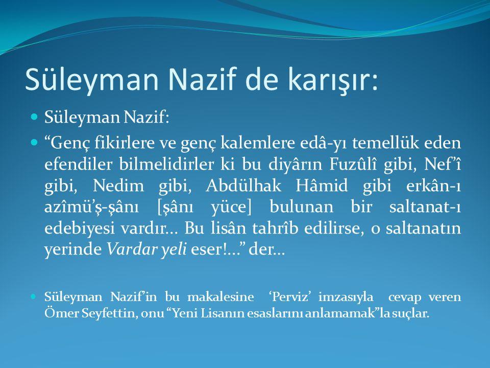 Süleyman Nazif de karışır: