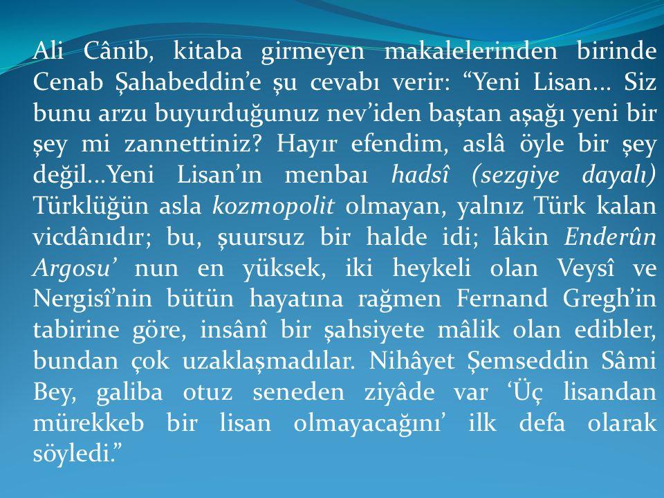 Ali Cânib, kitaba girmeyen makalelerinden birinde Cenab Şahabeddin'e şu cevabı verir: Yeni Lisan...