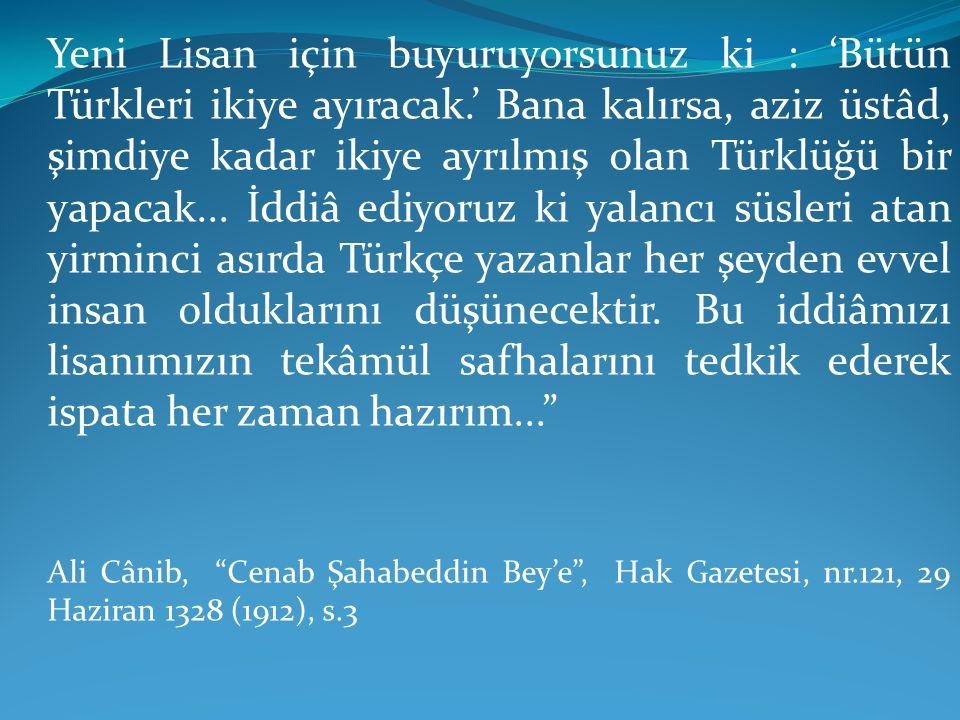 Yeni Lisan için buyuruyorsunuz ki : 'Bütün Türkleri ikiye ayıracak