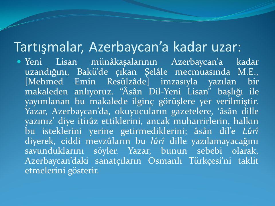 Tartışmalar, Azerbaycan'a kadar uzar: