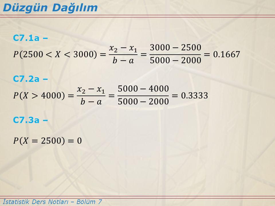 Düzgün Dağılım C7.1a – 𝑃 2500<𝑋<3000 = 𝑥 2 −𝑥 1 𝑏−𝑎 = 3000−2500 5000−2000 =0.1667. C7.2a –