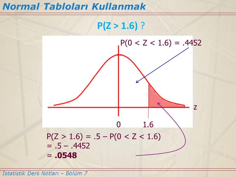 P(Z > 1.6) Normal Tabloları Kullanmak