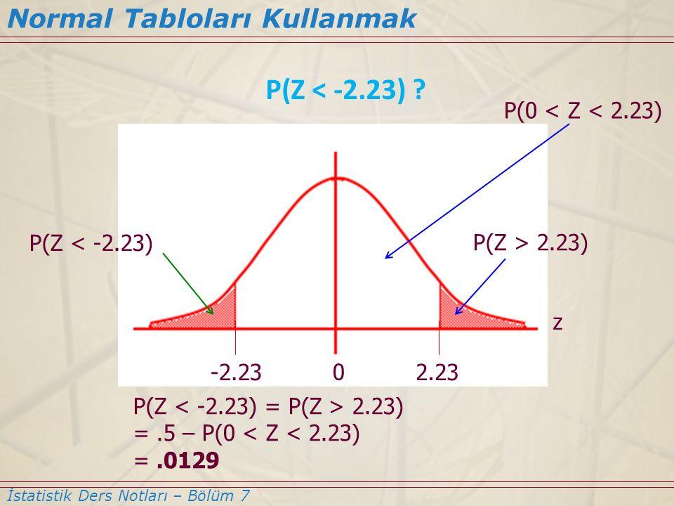 P(Z < -2.23) Normal Tabloları Kullanmak P(0 < Z < 2.23)