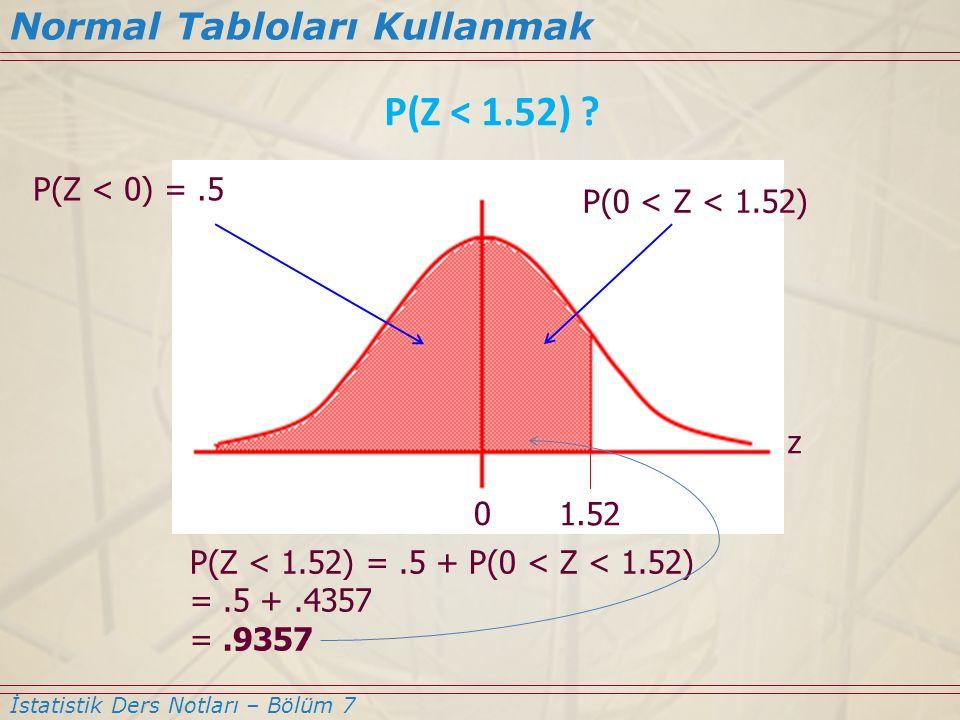 P(Z < 1.52) Normal Tabloları Kullanmak P(Z < 0) = .5