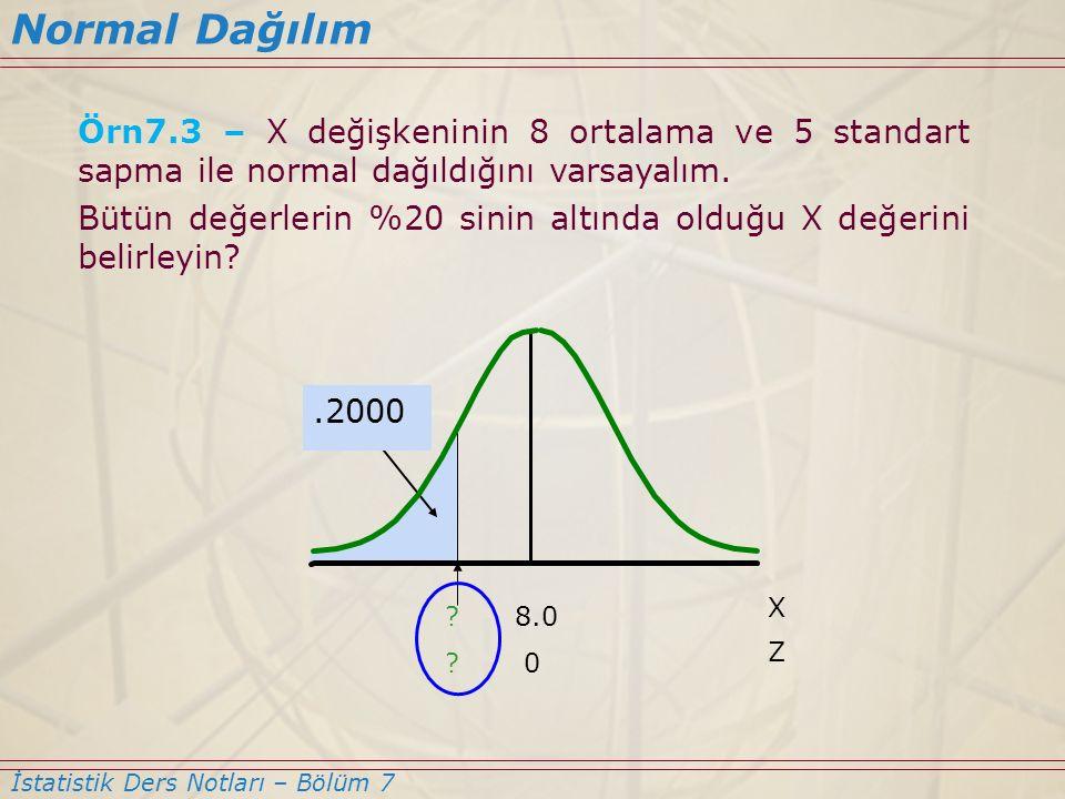 Normal Dağılım Örn7.3 – X değişkeninin 8 ortalama ve 5 standart sapma ile normal dağıldığını varsayalım.