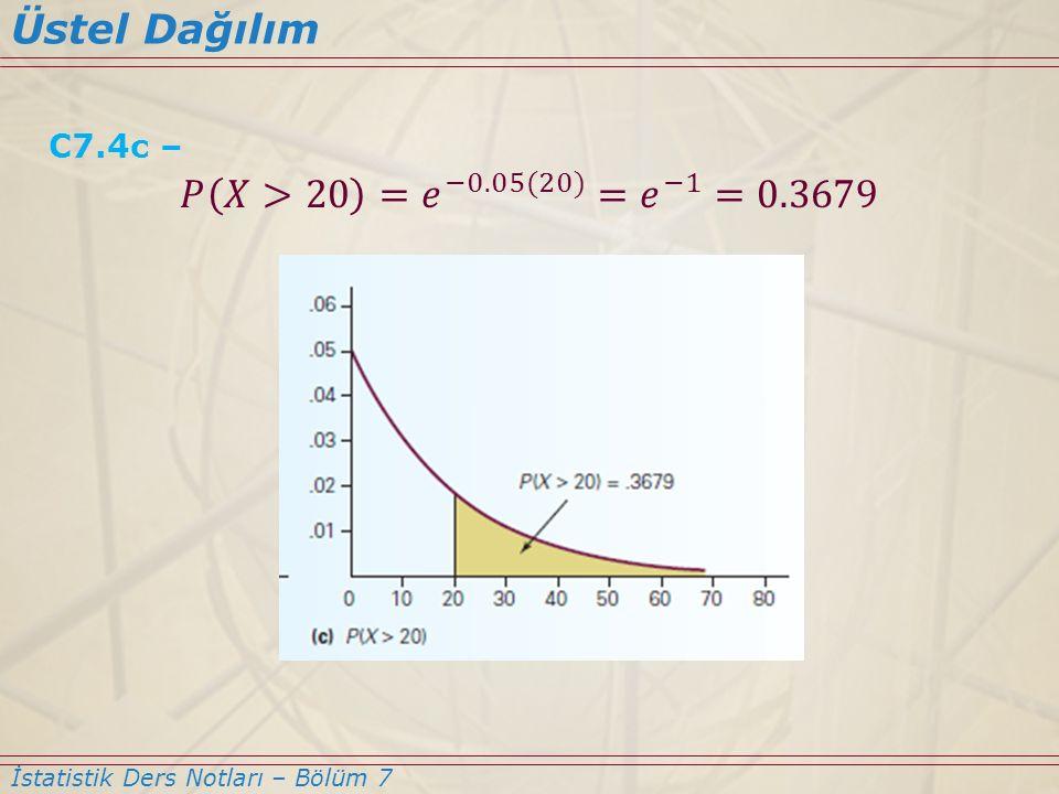 Üstel Dağılım 𝑃 𝑋>20 = 𝑒 −0.05(20) = 𝑒 −1 =0.3679 C7.4c –