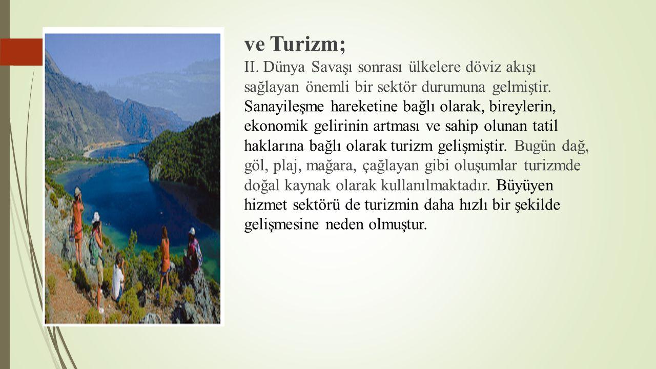 ve Turizm; II.