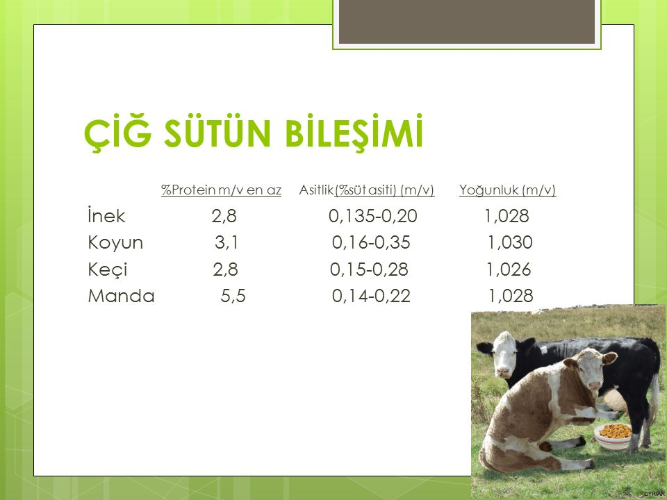 ÇİĞ SÜTÜN BİLEŞİMİ %Protein m/v en az Asitlik(%süt asiti) (m/v) Yoğunluk (m/v)