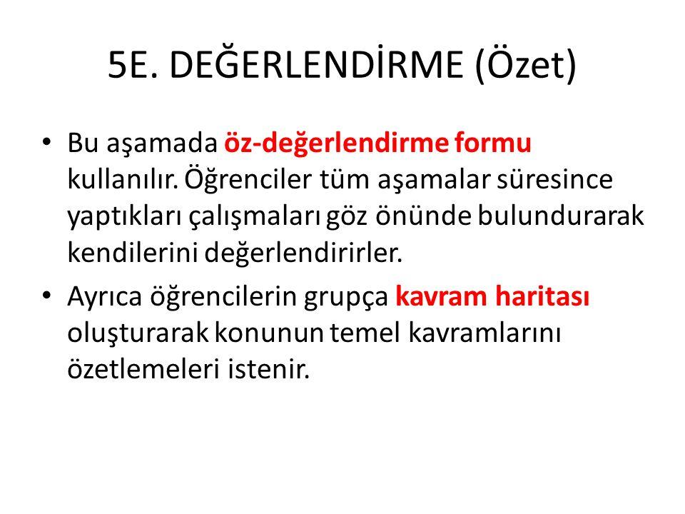 5E. DEĞERLENDİRME (Özet)