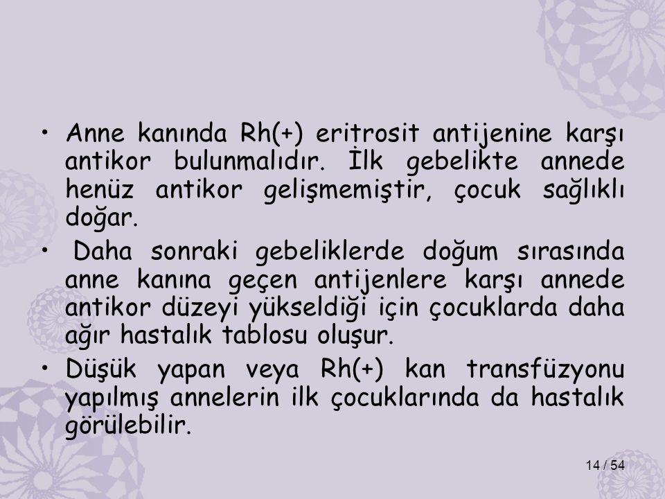 Anne kanında Rh(+) eritrosit antijenine karşı antikor bulunmalıdır