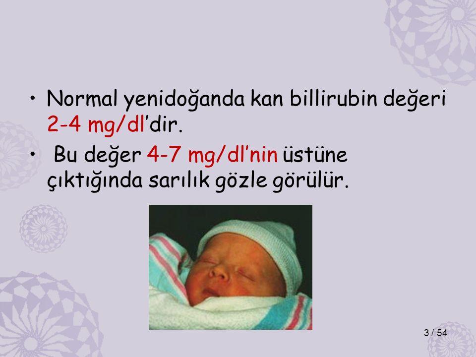 Normal yenidoğanda kan billirubin değeri 2-4 mg/dl'dir.