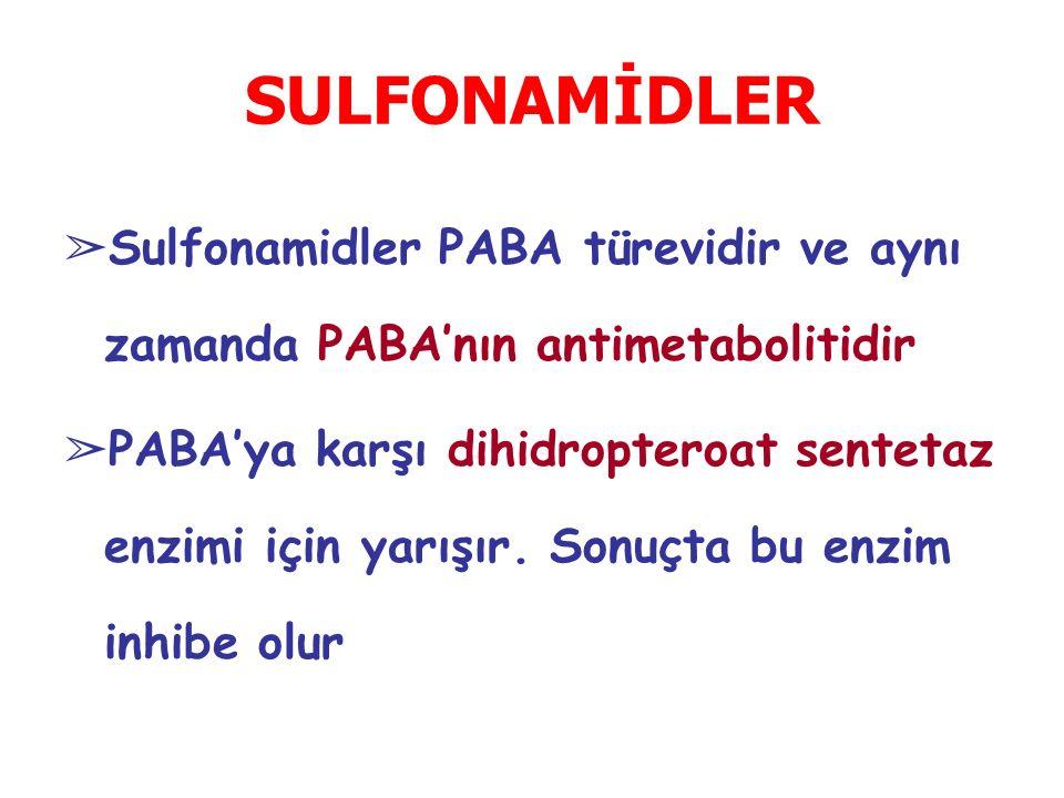 SULFONAMİDLER Sulfonamidler PABA türevidir ve aynı zamanda PABA'nın antimetabolitidir.