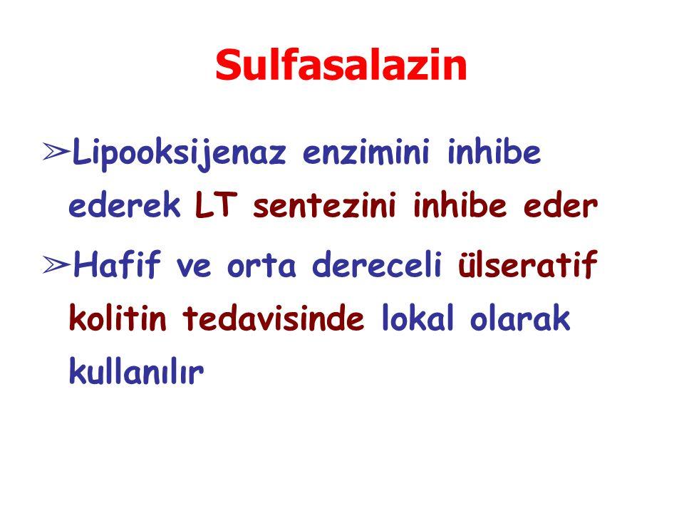 Sulfasalazin Lipooksijenaz enzimini inhibe ederek LT sentezini inhibe eder.