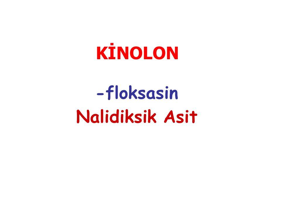 KİNOLON -floksasin Nalidiksik Asit
