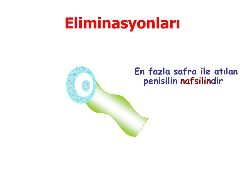 Eliminasyonları En fazla safra ile atılan penisilin nafsilindir