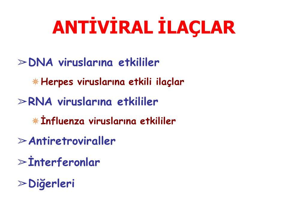 ANTİVİRAL İLAÇLAR DNA viruslarına etkililer RNA viruslarına etkililer