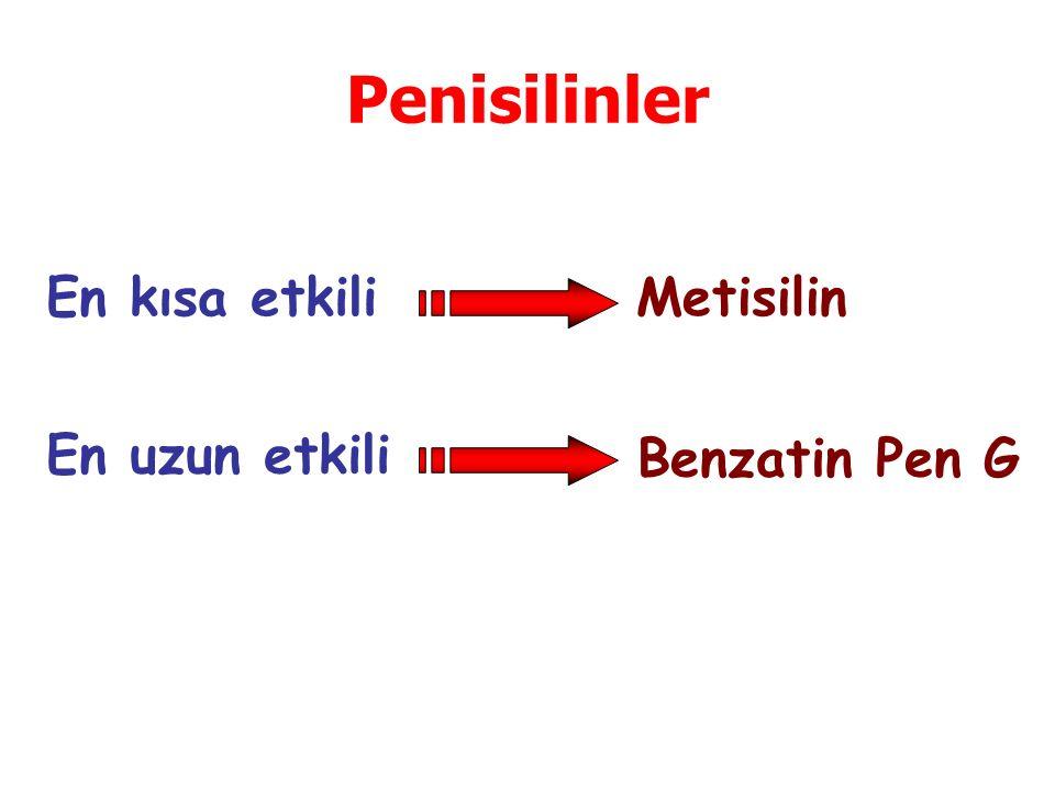 Penisilinler En kısa etkili Metisilin En uzun etkili Benzatin Pen G