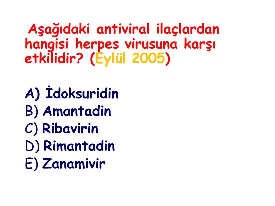 A) İdoksuridin B) Amantadin C) Ribavirin D) Rimantadin E) Zanamivir