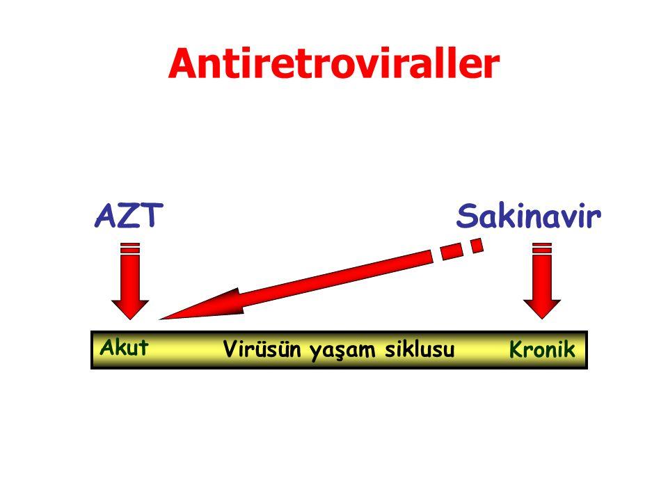 Antiretroviraller AZT Sakinavir Virüsün yaşam siklusu Akut Kronik