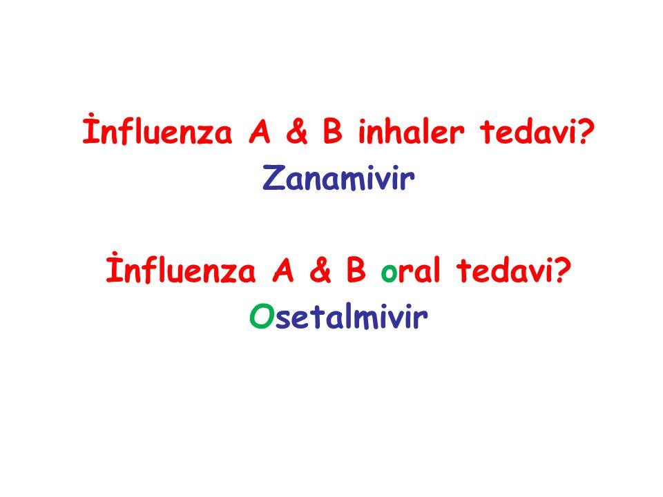 İnfluenza A & B inhaler tedavi İnfluenza A & B oral tedavi