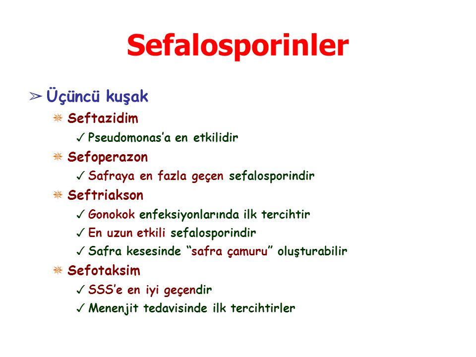 Sefalosporinler Üçüncü kuşak Seftazidim Sefoperazon Seftriakson