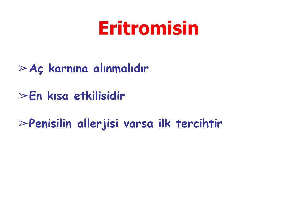 Eritromisin Aç karnına alınmalıdır En kısa etkilisidir