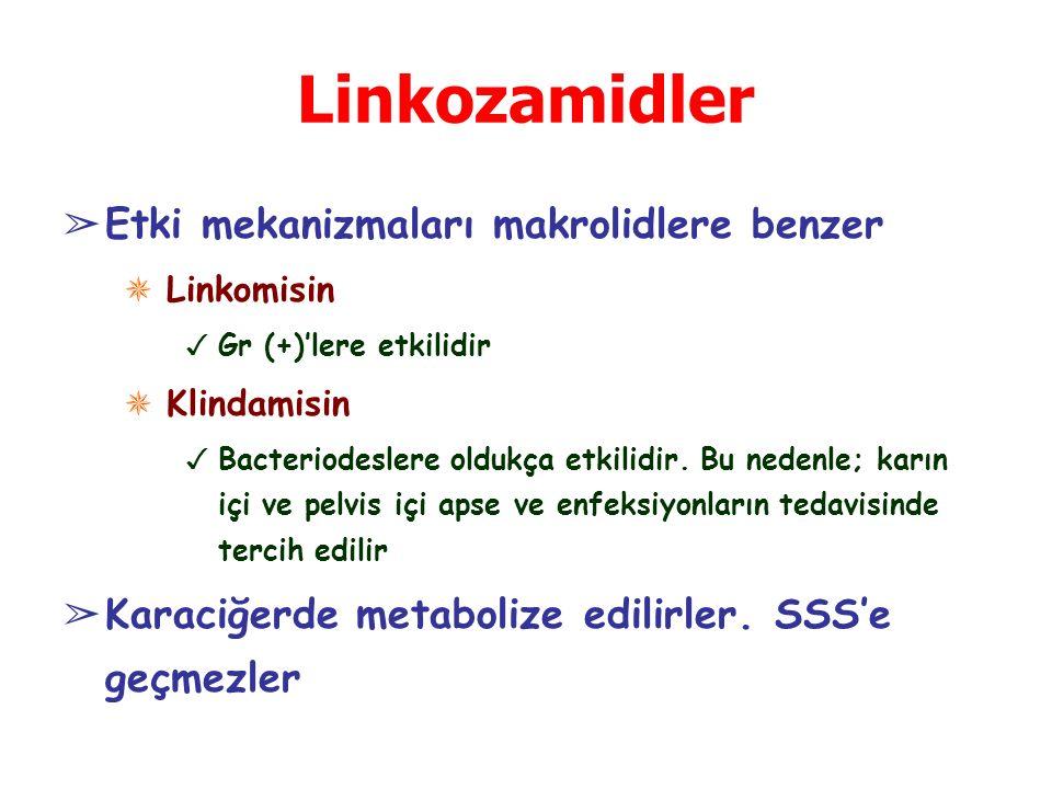 Linkozamidler Etki mekanizmaları makrolidlere benzer