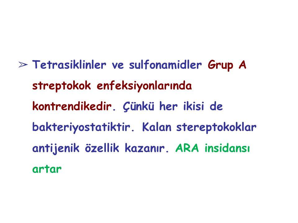 Tetrasiklinler ve sulfonamidler Grup A streptokok enfeksiyonlarında kontrendikedir.