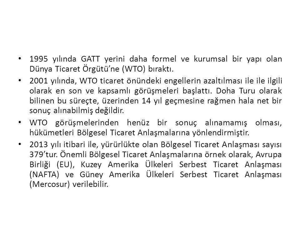1995 yılında GATT yerini daha formel ve kurumsal bir yapı olan Dünya Ticaret Örgütü'ne (WTO) bıraktı.