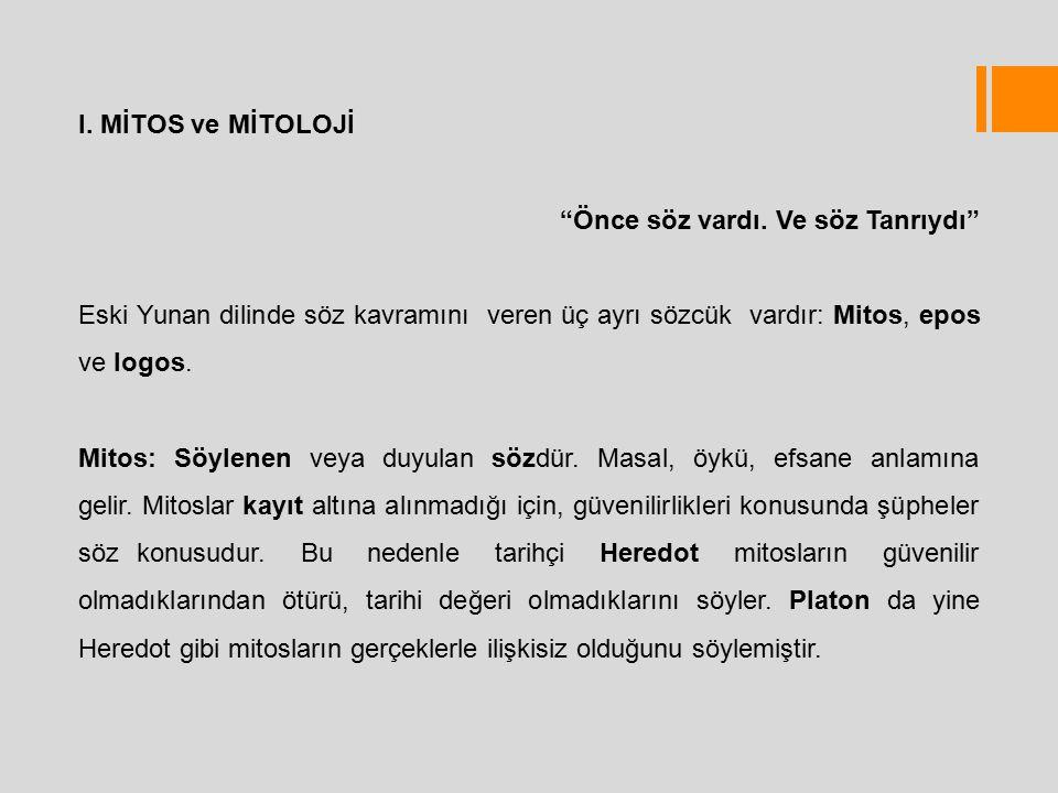 I. MİTOS ve MİTOLOJİ Önce söz vardı. Ve söz Tanrıydı Eski Yunan dilinde söz kavramını veren üç ayrı sözcük vardır: Mitos, epos ve logos.