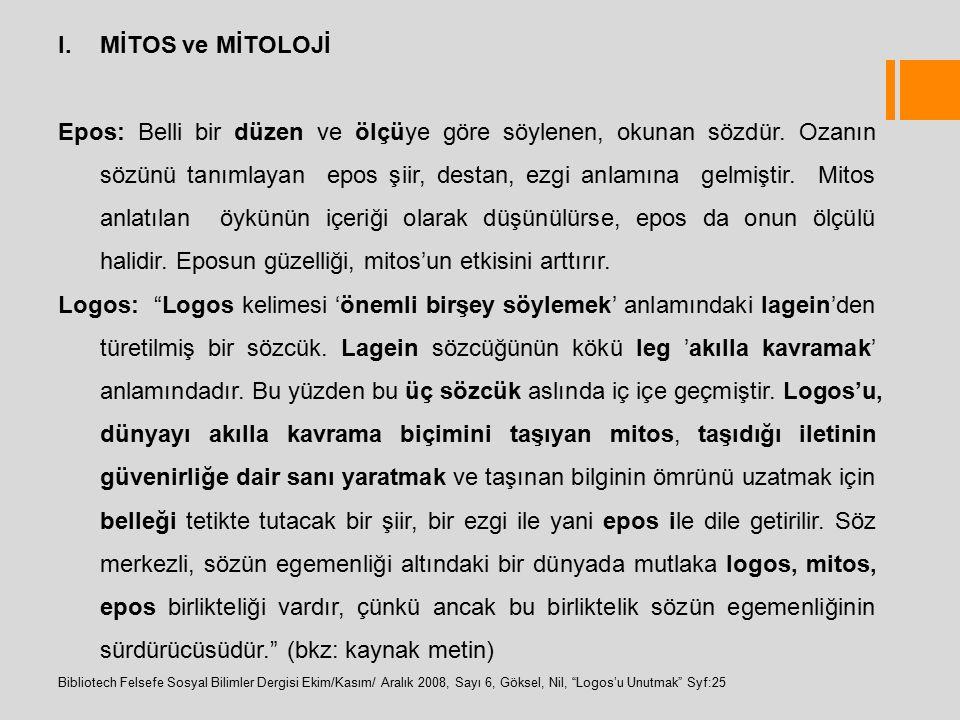 MİTOS ve MİTOLOJİ