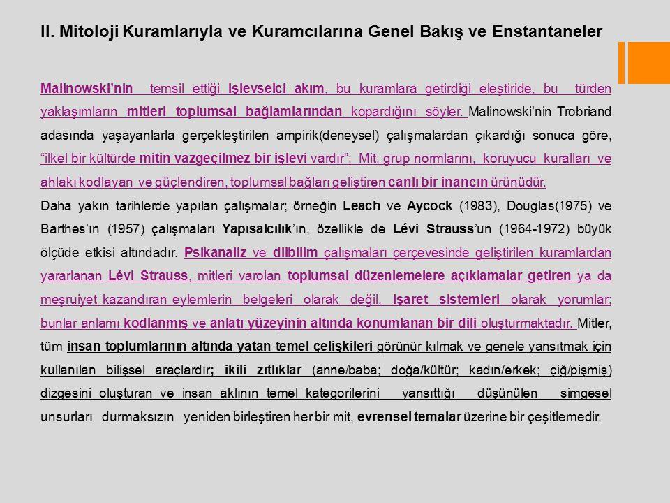 II. Mitoloji Kuramlarıyla ve Kuramcılarına Genel Bakış ve Enstantaneler