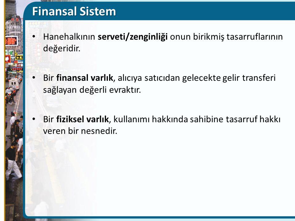 Finansal Sistem Hanehalkının serveti/zenginliği onun birikmiş tasarruflarının değeridir.