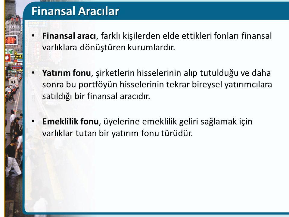 Finansal Aracılar Finansal aracı, farklı kişilerden elde ettikleri fonları finansal varlıklara dönüştüren kurumlardır.