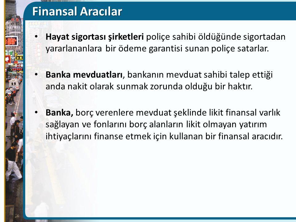 Finansal Aracılar Hayat sigortası şirketleri poliçe sahibi öldüğünde sigortadan yararlananlara bir ödeme garantisi sunan poliçe satarlar.